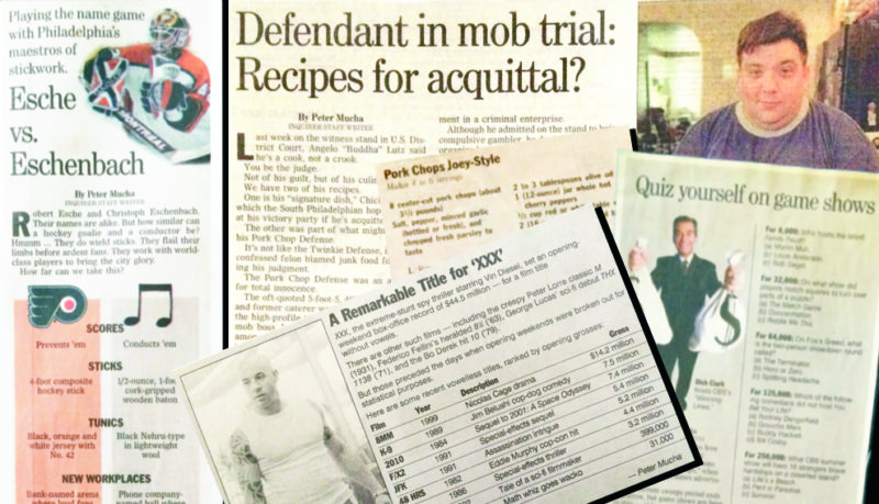 Peter Mucha stories with quiz, charts, humor, recipes as seen in Philadelphia Inquirer